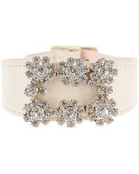 Roger Vivier Leather Bracelet Flower Jewel Buckle - Multicolour