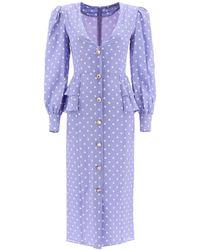 Alessandra Rich Polka Dot Midi Dress With Jewel Buttons - Purple