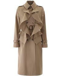 Alexander McQueen Ruffled Trench Coat - Natural