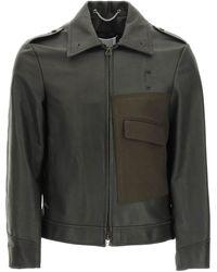 Maison Margiela Leather Jacket With Wool Pocket - Multicolour