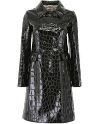 Miu Miu Croc-print Coat - Black