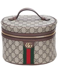 Gucci Ophidia Cosmetic Case In Beige And Ebony Gg Supreme Fabric - Natural