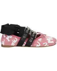 Miu Miu Ballet Flats Women Pink - Black