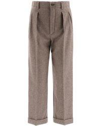 Saint Laurent Houndstooth Flannel Trousers - Multicolour