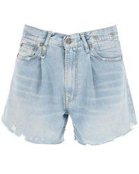 R13 Damon Vintage Indigo Shorts - Blue