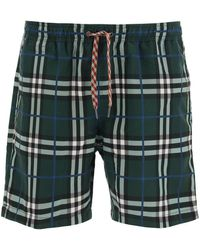 Burberry Swim Trunks With Check Print - Green