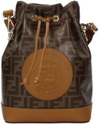 538a92e5abb8 Fendi - Mon Trésor Large Printed Coated-canvas And Leather Bucket Bag - Lyst