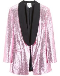 In the mood for love Tuxedo Jacket With Sequins - Pink
