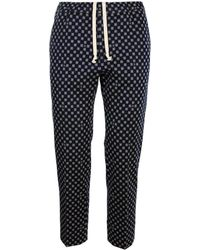 Gucci Classic Cut Pants With Geometric Pattern G Frames In Blue And Beige