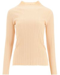 Acne Studios Vertical Stripes Knitted Tops - Natural