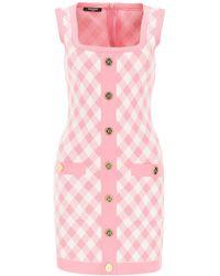 Balmain Mini Dress With Buttons - Pink