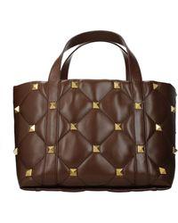 Valentino Garavani - Handbags Roman Stud Leather Malt - Lyst