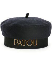 Patou Text Print Velvet Beret - Black