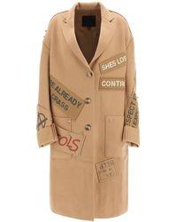 R13 Wool Graffiti Coat S Wool - Brown