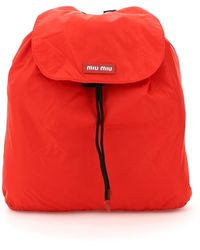 Miu Miu Packable Nylon Backpack - Red