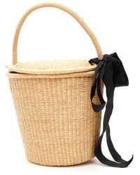 Sensi Studio Wicker Bucket Bag With Bow - Multicolor