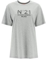 N°21 Via Santo Spirito Milano Logo T-shirt 36 Cotton - Gray