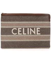 Celine Striped Jacquard Large Pouch With Logo - Multicolor