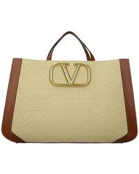 Valentino Garavani Handbags Raffia Leather - Natural