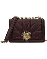 Dolce & Gabbana - Dolce&gabbana Crossbody Bag Devotion Leather Wine - Lyst