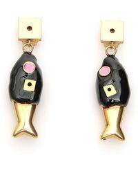 Marni Pendant Drop Earrings - Black