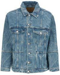 Martine Rose Oversized Denim Jacket With Logo - Blue