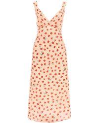 RIXO London Shantel Vintage Rose Print Midi Dress - Pink