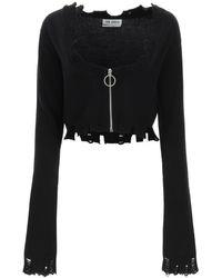 The Attico Zip-up Cardigan - Black