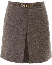 Celine Triomphe Mini Skirt - Brown