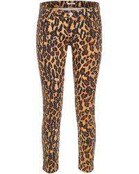 Miu Miu Leopard-printed Jeans With Patch - Multicolor