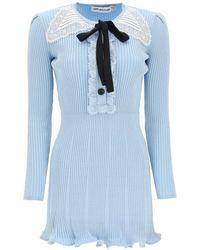 Self-Portrait Viscose With Lurex Thread Mini Dress - Blue