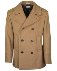 Brunello Cucinelli Baby Camel Double Cloth Wool Pea Coat - Natural