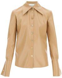 A.W.A.K.E. MODE Faux Leather Shirt - Natural