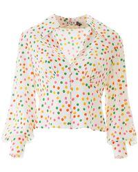 RIXO London Polka Dot Daria Blouse - Multicolour