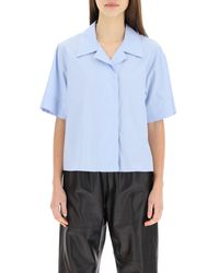MM6 by Maison Martin Margiela Poplin Shirt With Embroidery - Blue