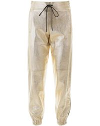 Saint Laurent Gold Laminated Leather Trousers 36 Leather - Metallic