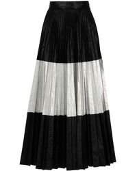 Christopher Kane Pleated Two-tone Crinkled-lamé Maxi Skirt - Black