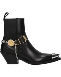 Versace Ankle Boots Leather - Black