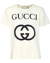 45a82446e379 Gucci Cotton Jersey Watercolor Print Tshirt in White for Men - Lyst
