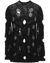 Prada Wool Sweater With Holes - Black