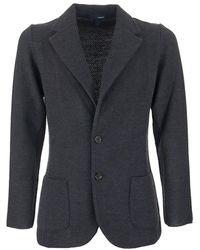 Lardini Single-breasted Merino Wool Knit Jacket - Black
