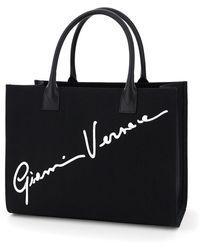 Versace Gv Signature Canvas Tote Bag - Black