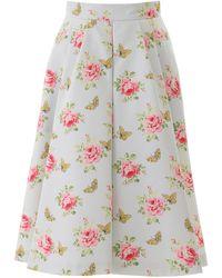 Prada Rose Print Faille Skirt - Multicolour