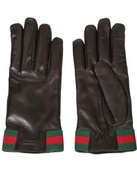Gucci Gloves In Soft Black Leather With Green And Red Web Detail