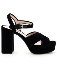 Miu Miu Velvet Platform Sandals - Black