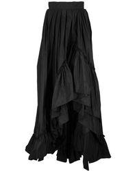 Max Mara Abadan Long Taffeta Skirt - Black