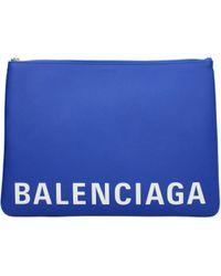 Balenciaga Ville L Leather Clutch Bag - Blue