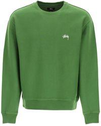 Stussy Sweatshirt Stock Logo Embroidery - Green