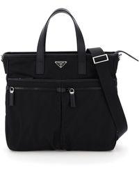 Prada Saffiano And Fabric Tote Bag - Black
