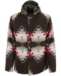 Paltò Livio Coat With Geometric Pattern - Brown